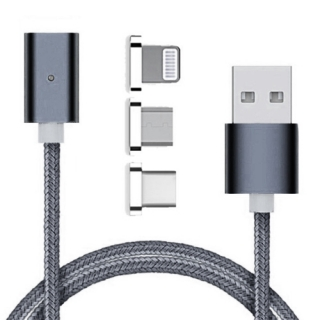 USB data kabal MAGNETNI 3in1 lightning/micro/Type C sivi 1m
