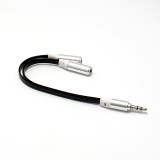 Audio AUX kabal COUPLE 3.5mm na 2x 3.5mm crni