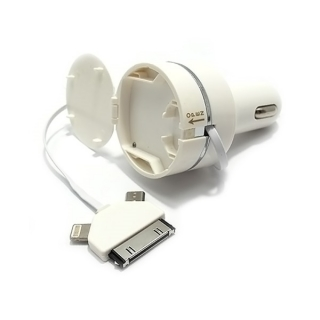 Auto punjac 3IN1 2A za Iphone 4/lightning/microUSB beli