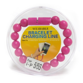 USB kabal BRACELET za Iphone lightning pink