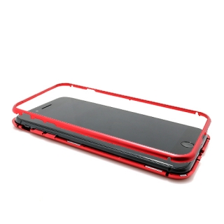 Futrola Magnetic Glass Frame za Iphone 7 Plus/Iphone 8 Plus crvena