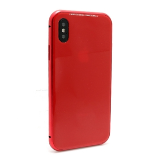 Futrola Magnetic Glass Frame za Iphone X crvena
