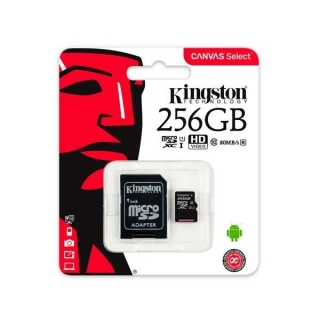 Kingston Mikro SD memorijska kartica + adapter 256GB Canvas Select 80MB/s