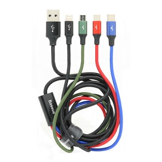 USB data kabal BASEUS FAST 4in1 (1x Iphone lightning + 2x micro + 1x Type C) 1.2m crni