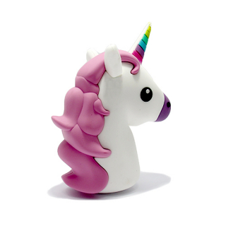 Power Bank EMOJI 2200mAh unicorn belo-roze