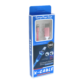 USB data kabal X-CABLE micro USB svetleci roze