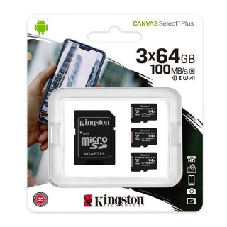 Kingston Canvas Select Plus (sdcs2/64gb-3p1a) memorijska kartica micro SDXC 3x64GB class 10+adapter